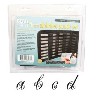 Beadsmith Spiral Font Alphabet Lower Case Letter 4mm Stamping Set - Beadsmith Metal Elements