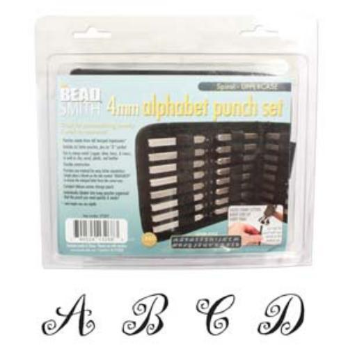 Beadsmith Spiral Font Alphabet Upper Case Letter 4mm Stamping Set - Beadsmith Metal Elements