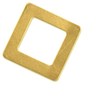 "Brass Square Washer 1 1/8"""" 29mm od 17.3mm id 24ga Stamping Blank x1"