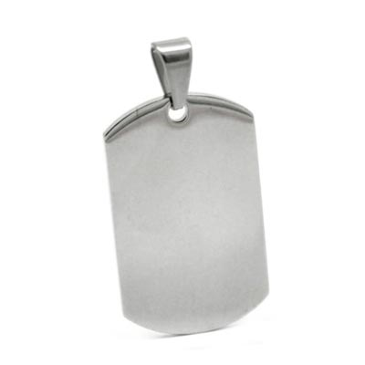 Stainless Steel Rectangle Dog Tag 43.5x21.8mm 13g Stamping Blank with Bail x1