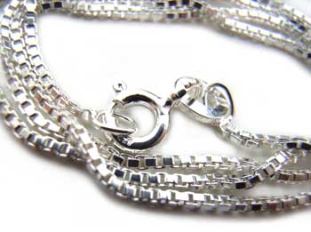 "Sterling Silver 1mm Box Chain Necklace - 18"" - 45cm"