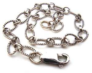 """Sterling Silver Antiqued Etched Bracelet ~ 8"""" - 21cm"""