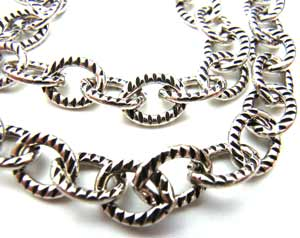 Sterling Silver Chain 5x7mm Oval Link Oxidised - per foot (30cm)