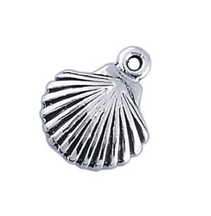 Sterling Silver Charms - 9x10.5mm Seashell Charm x1