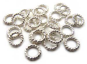 Sterling Silver Jump Rings Twisted Wire 4mm (closed) x10