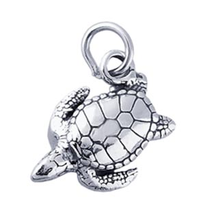 Sterling Silver Charms - 19x15mm Hawksbill Sea Turtle Charm x1