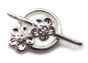 Sterling Silver 18x26mm Flower Toggle x1