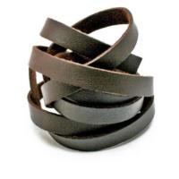 Faux PU Flat Leather Strip, for Bracelets, 8mm Wide, 1 metre x1pc, Brown