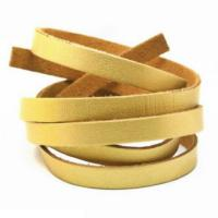 Faux PU Flat Leather Strip, for Bracelets, 8mm Wide, 1 metre x1pc, Gold