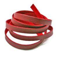 Faux PU Flat Leather Strip, for Bracelets, 8mm Wide, 1 metre x1pc, Red