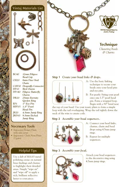 Vintaj Natural Brass - Clustering & Bead Wrapping Tech Sheet
