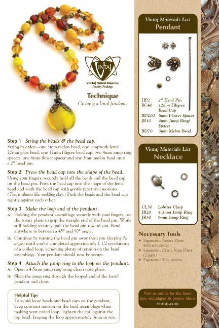 Vintaj Natural Brass - Lentil Pendant and Creative Toggle Tech Sheet