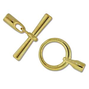Kumihimo Glue in Toggle 3mm id Gold Plated x1