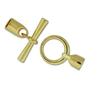 Kumihimo Glue in Toggle 6mm id Gold Plated x1
