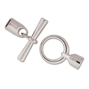 Kumihimo Glue in Toggle 6mm id Silver Plated x1