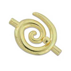 Kumihimo Glue in Large Swirl Clasp 3mm id Gold Plated x1
