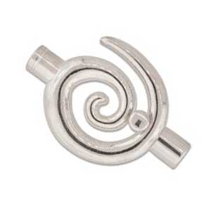 Kumihimo Glue in Large Swirl Clasp 6mm id Silver Plated x1