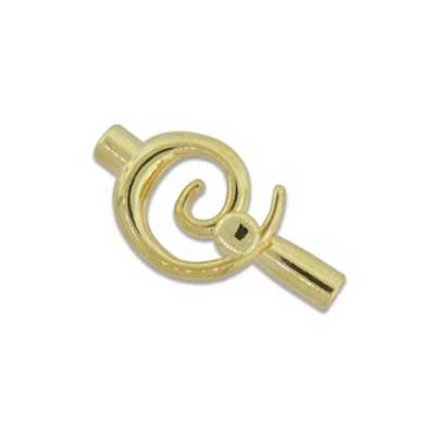 Kumihimo Glue in Swirl Clasp 3mm id Gold Plated x1
