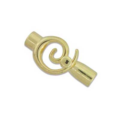 Kumihimo Glue in Swirl Clasp 6mm id Gold Plated x1