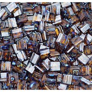 Miyuki Tila Bead 5mm Picasso Dark Amber Transparent