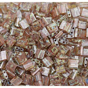 Miyuki Tila Bead 5mm Picasso Light Smoky Topaz Transparent