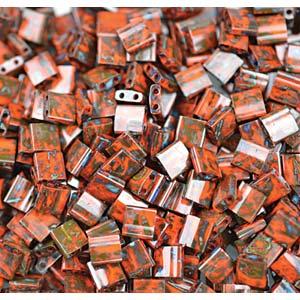 Miyuki Tila Bead 5mm Picasso Opaque Orange