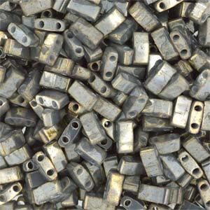 Miyuki Half Tila Bead 1/2 Cut 5mm Lustre Galvn Grey