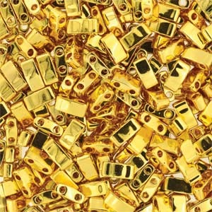 Miyuki Half Tila Bead 1/2 Cut 5mm Metallic 24kt Gold Plated (PRE-ORDER)