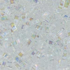Miyuki Half Tila Bead 1/2 Cut 5mm Transparent Crystal AB