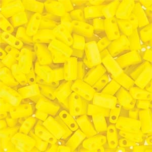 Miyuki Half Tila Bead 1/2 Cut 5mm Opaque Matte Yellow AB