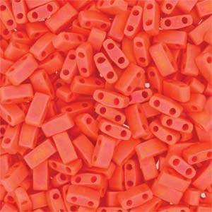 Miyuki Half Tila Bead 1/2 Cut 5mm Opaque Matte Orange AB
