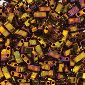 Miyuki Half Tila Bead 1/2 Cut 5mm Metallic Gold Iris