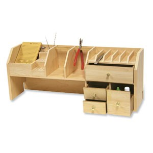 Wooden Bench Top Organiser - Desktop Storage for Jewellery Tools