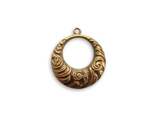 Vintaj Natural Brass 17x19mm Nouveau Swirls Ring x1