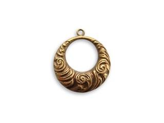 Vintaj Natural Brass 17x19mm Nouveau Swirls Ring x1