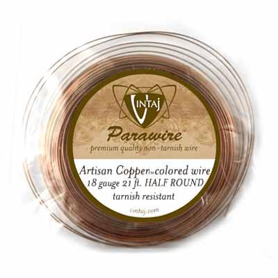 Vintaj by ParaWire - HALF Round Wire 18g Artisan Copper