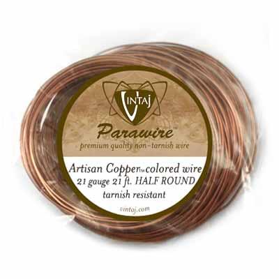 Vintaj by ParaWire HALF Round Wire 21g Artisan Copper