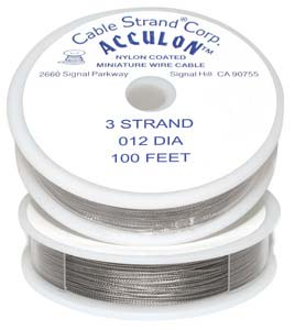 Acculon Nylon Coated Steel Beading Wire ~ Fine .012 100ft / 30m