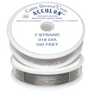 Acculon Nylon Coated Steel Beading Wire ~ Heavy .018 100ft / 30m