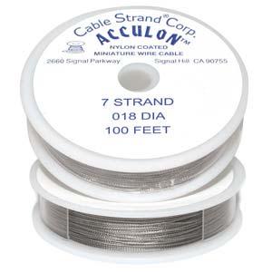 Acculon Nylon Coated Steel Beading Wire ~ Heavy .018 100ft / 30m