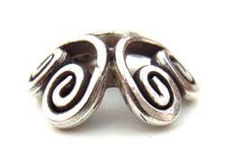 Thai Karen Hill Tribe Silver - Spiral Bead Cap x1