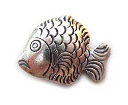 Thai Karen Hill Tribe Silver - 25x17x7mm Tropical Fish Bead x1