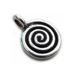 Thai Karen Hill Tribe Silver - Spiral Charm x1
