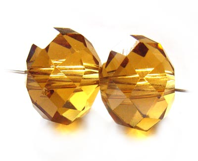 Imperial Crystal Roundelle Beads 12x9mm Topaz Light x20