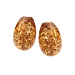 Topaz Glitter Flakes Earring Egg Drops - Artisan Glass Lampwork Beads (x2 bead set)