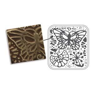 Vintaj Natural Brass - Sizzix DecoEmboss Die - Butterfly Swirls