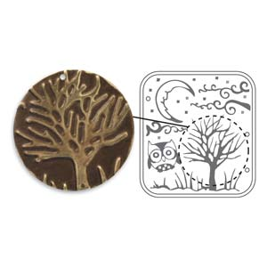 Vintaj Natural Brass - Sizzix DecoEmboss Die - Moonlit Night