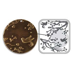 Vintaj Natural Brass - Sizzix DecoEmboss Die - Cherry Blossom Garden