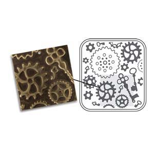 Vintaj Natural Brass - Sizzix DecoEmboss Die - Steampunk Parts
