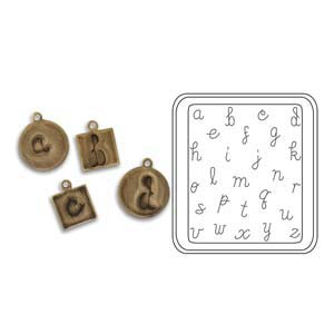Vintaj Natural Brass - Sizzix DecoEtch Die - Lowercase Handwriting
